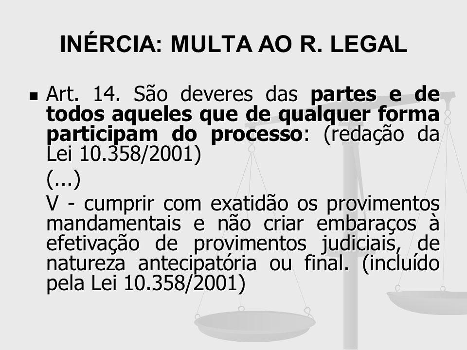 INÉRCIA: MULTA AO R. LEGAL