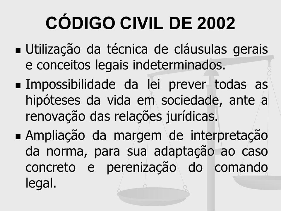 CÓDIGO CIVIL DE 2002 Utilização da técnica de cláusulas gerais e conceitos legais indeterminados.
