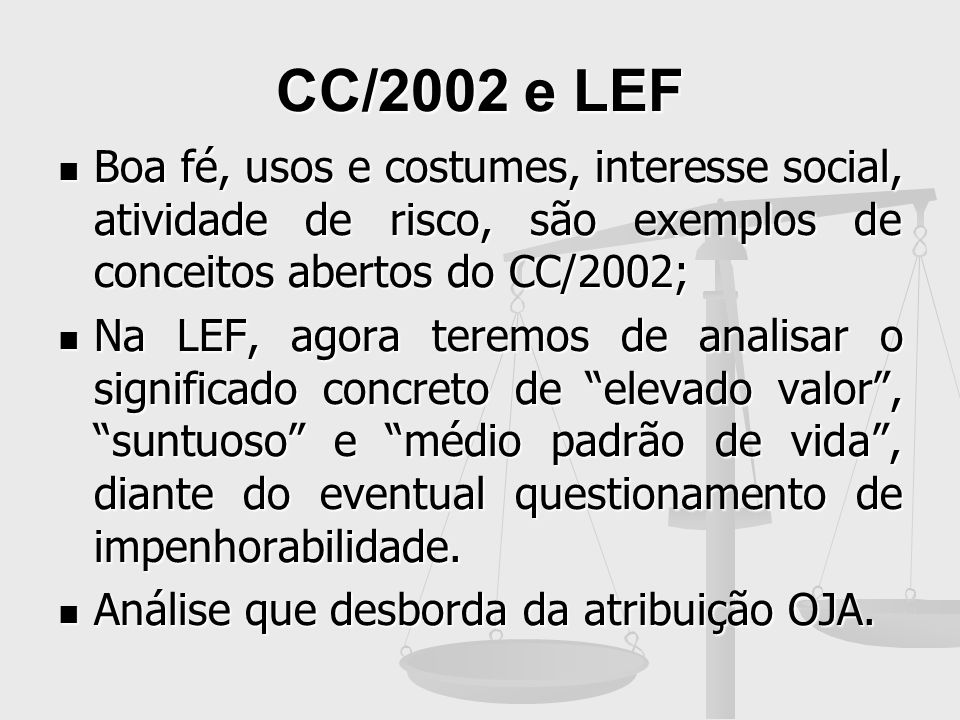 CC/2002 e LEFBoa fé, usos e costumes, interesse social, atividade de risco, são exemplos de conceitos abertos do CC/2002;