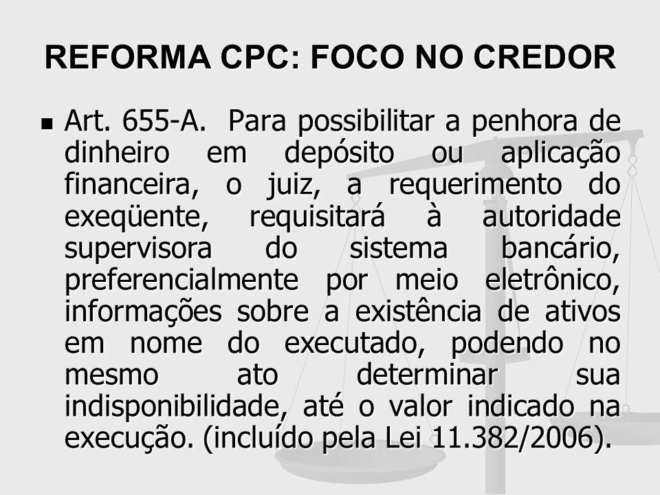 REFORMA CPC: FOCO NO CREDOR
