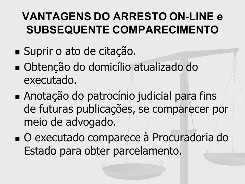 VANTAGENS DO ARRESTO ON-LINE e SUBSEQUENTE COMPARECIMENTO