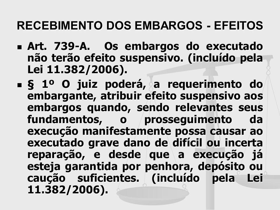 RECEBIMENTO DOS EMBARGOS - EFEITOS