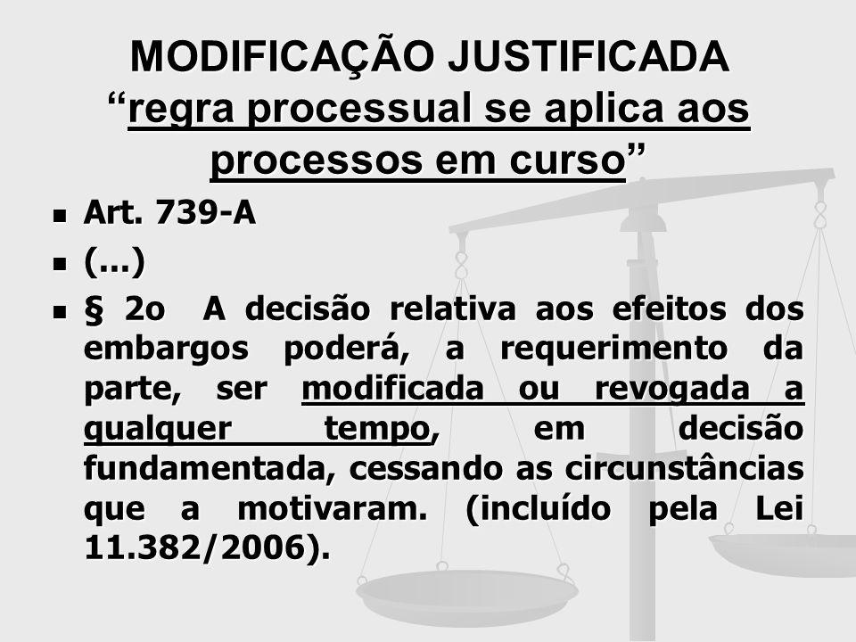 MODIFICAÇÃO JUSTIFICADA regra processual se aplica aos processos em curso
