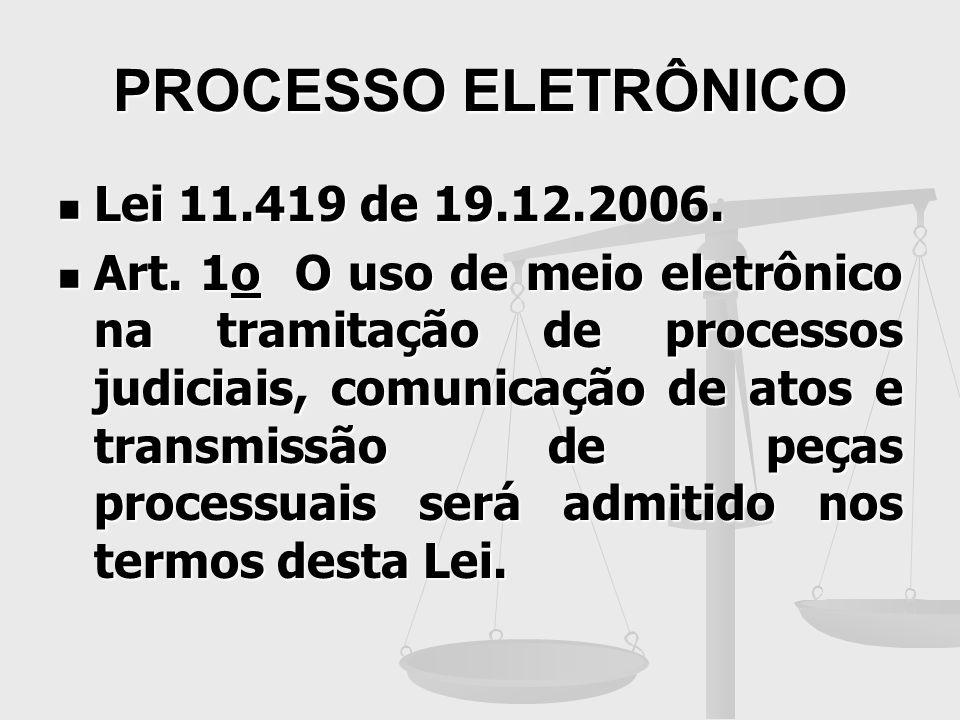 PROCESSO ELETRÔNICO Lei 11.419 de 19.12.2006.