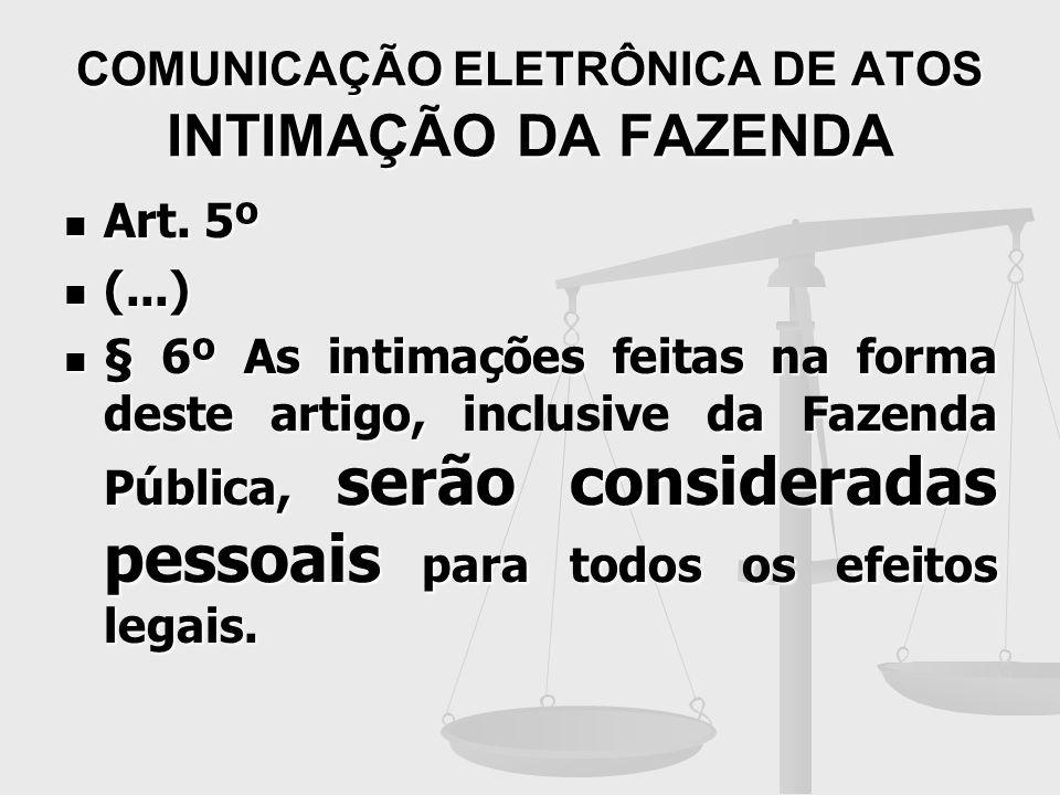 COMUNICAÇÃO ELETRÔNICA DE ATOS INTIMAÇÃO DA FAZENDA