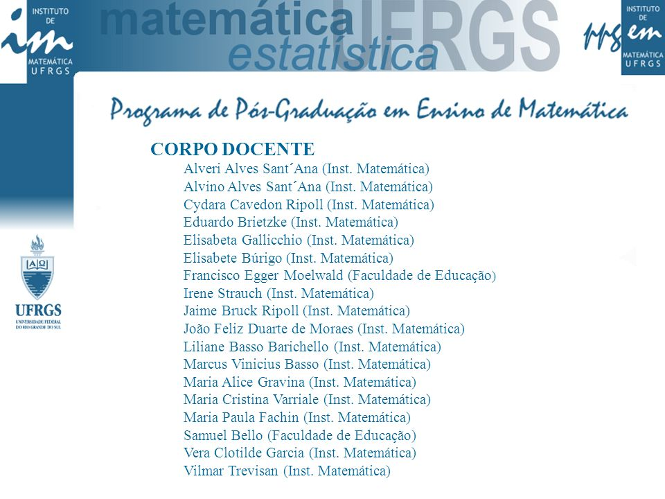 CORPO DOCENTE Alveri Alves Sant´Ana (Inst. Matemática)