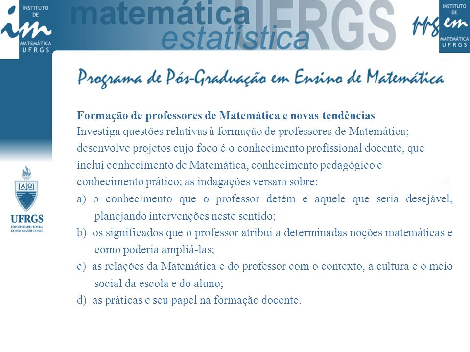 Formação de professores de Matemática e novas tendências