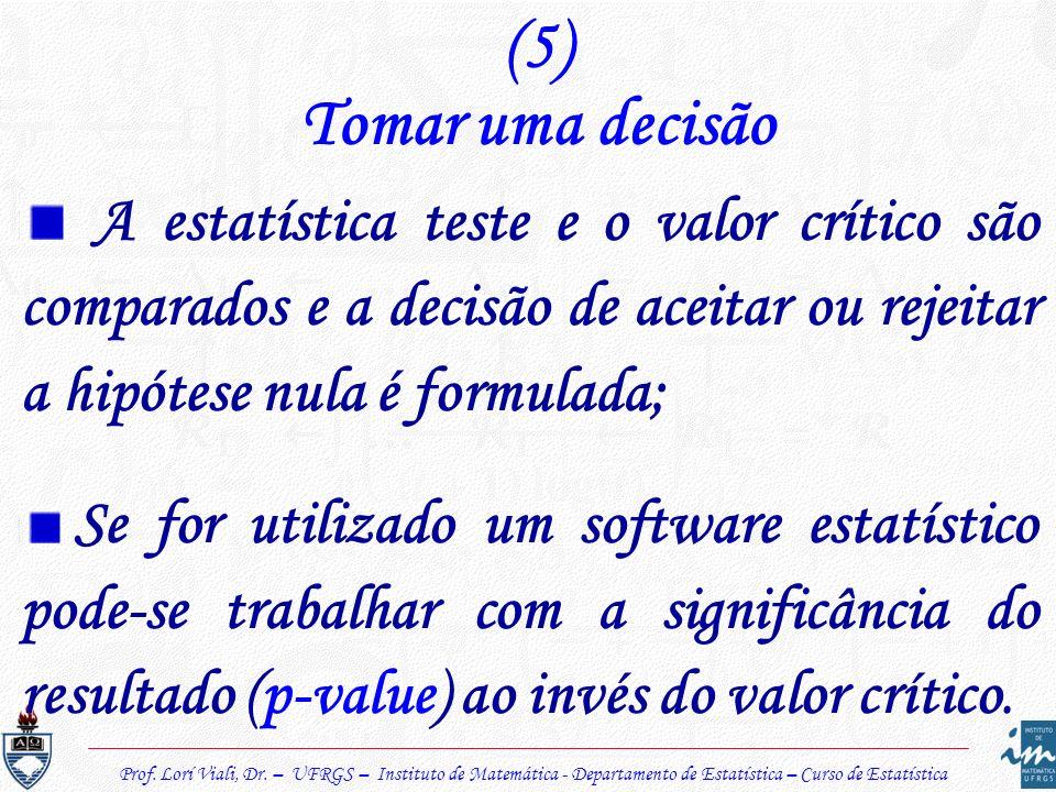(5)Tomar uma decisão. A estatística teste e o valor crítico são comparados e a decisão de aceitar ou rejeitar a hipótese nula é formulada;