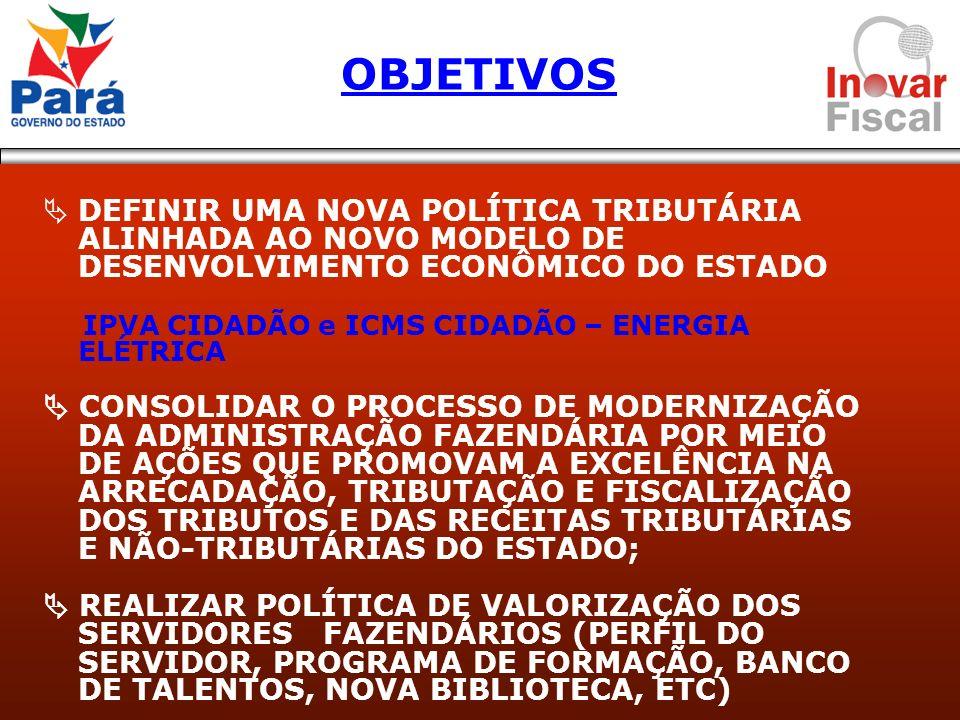 OBJETIVOS DEFINIR UMA NOVA POLÍTICA TRIBUTÁRIA ALINHADA AO NOVO MODELO DE DESENVOLVIMENTO ECONÔMICO DO ESTADO.
