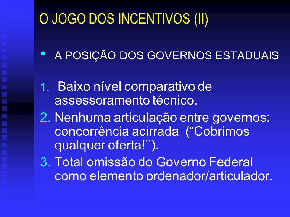 O JOGO DOS INCENTIVOS (II)