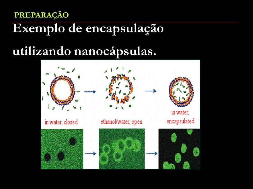 Exemplo de encapsulação utilizando nanocápsulas.