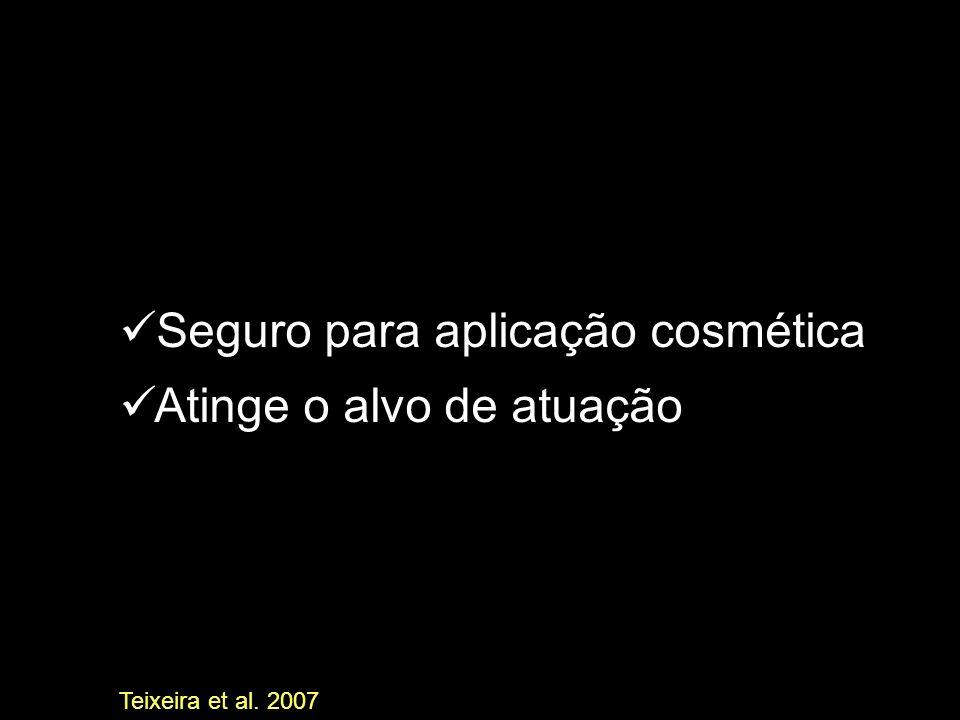 Seguro para aplicação cosmética Atinge o alvo de atuação