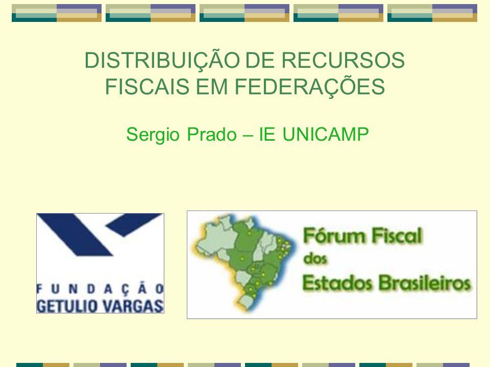 DISTRIBUIÇÃO DE RECURSOS FISCAIS EM FEDERAÇÕES Sergio Prado – IE UNICAMP