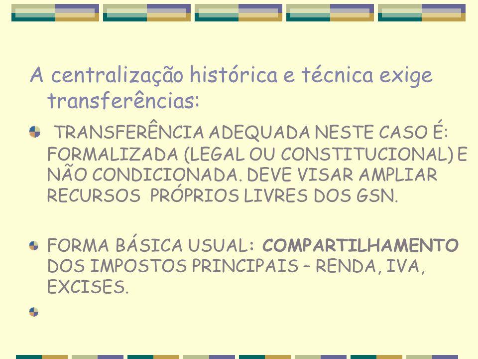 A centralização histórica e técnica exige transferências: