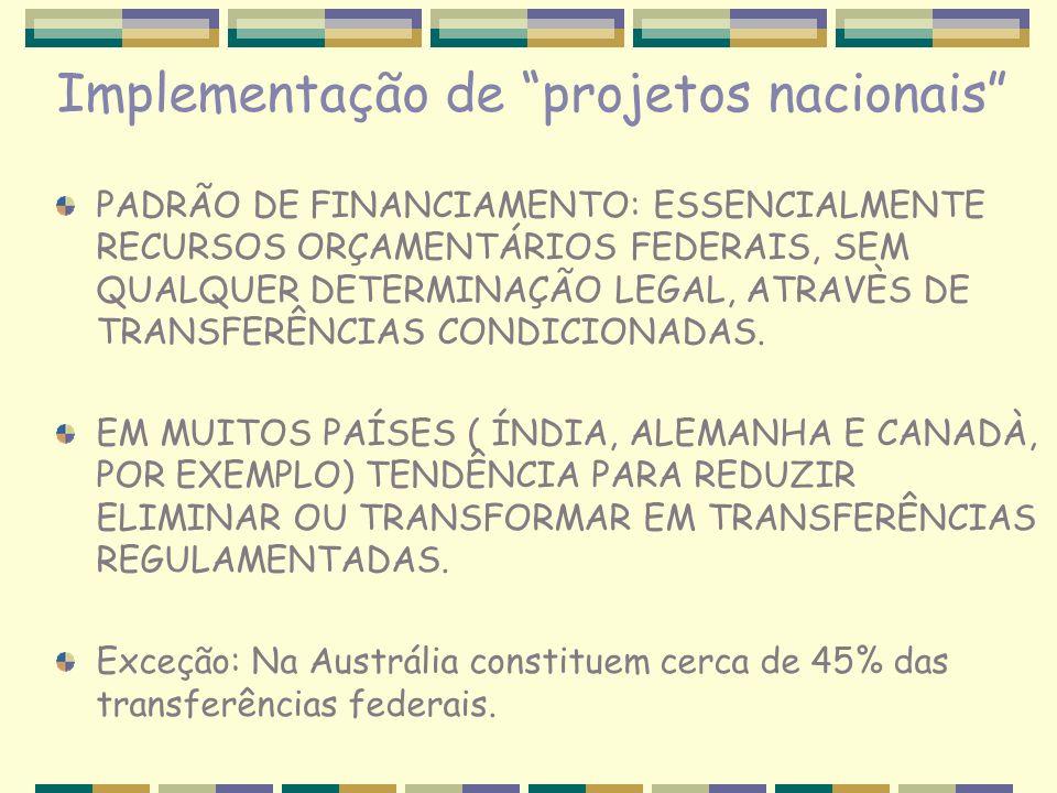 Implementação de projetos nacionais