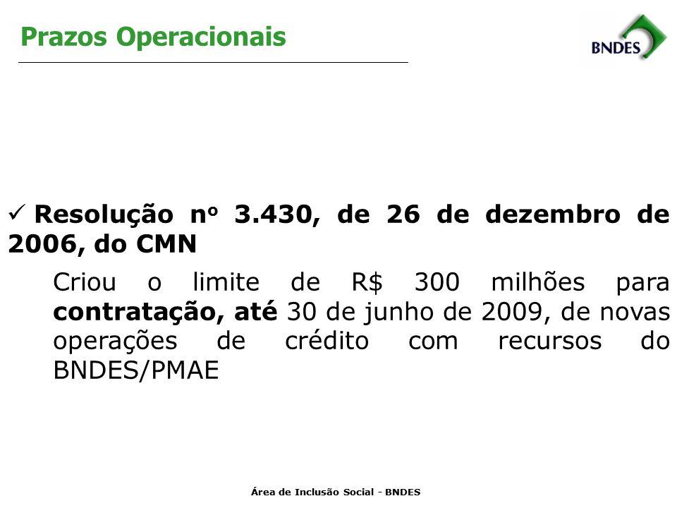 Prazos Operacionais Resolução no 3.430, de 26 de dezembro de 2006, do CMN.