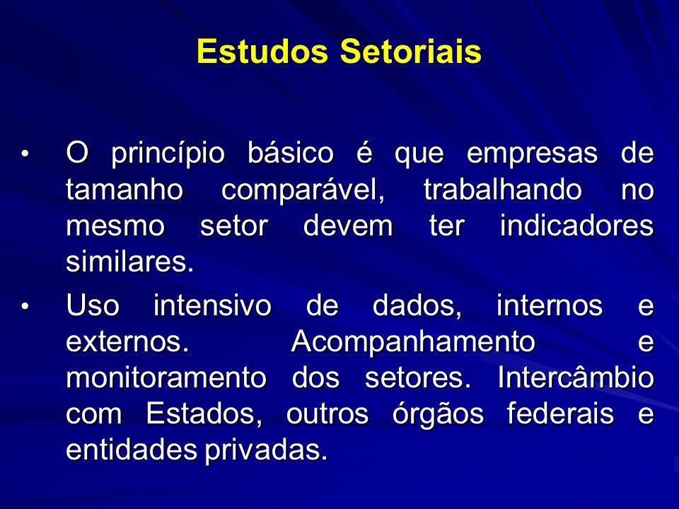 Estudos SetoriaisO princípio básico é que empresas de tamanho comparável, trabalhando no mesmo setor devem ter indicadores similares.