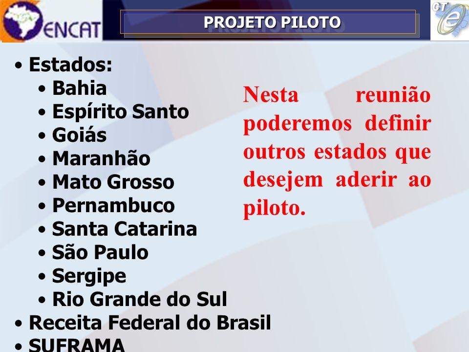 3/26/2017 PROJETO PILOTO. Estados: Bahia. Espírito Santo. Goiás. Maranhão. Mato Grosso. Pernambuco.