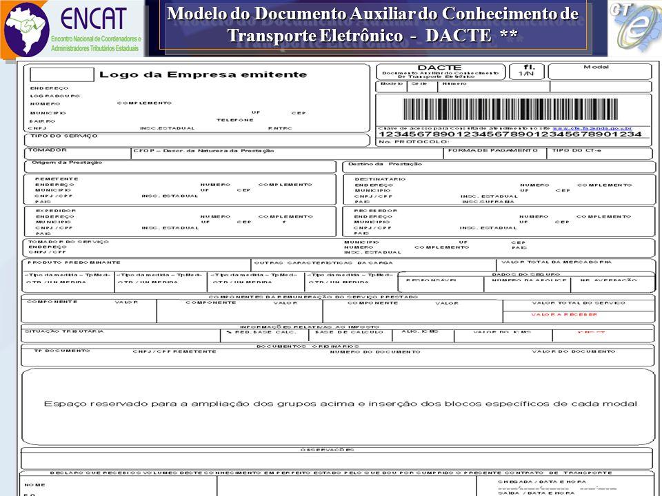 Modelo do Documento Auxiliar do Conhecimento de Transporte Eletrônico - DACTE **