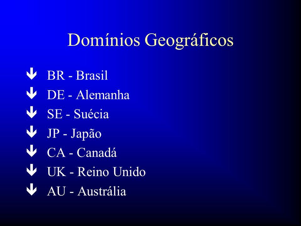 Domínios Geográficos BR - Brasil DE - Alemanha SE - Suécia JP - Japão