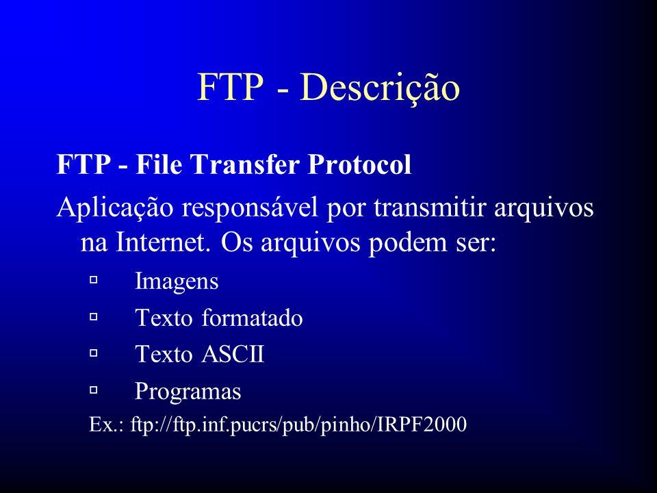 FTP - Descrição FTP - File Transfer Protocol