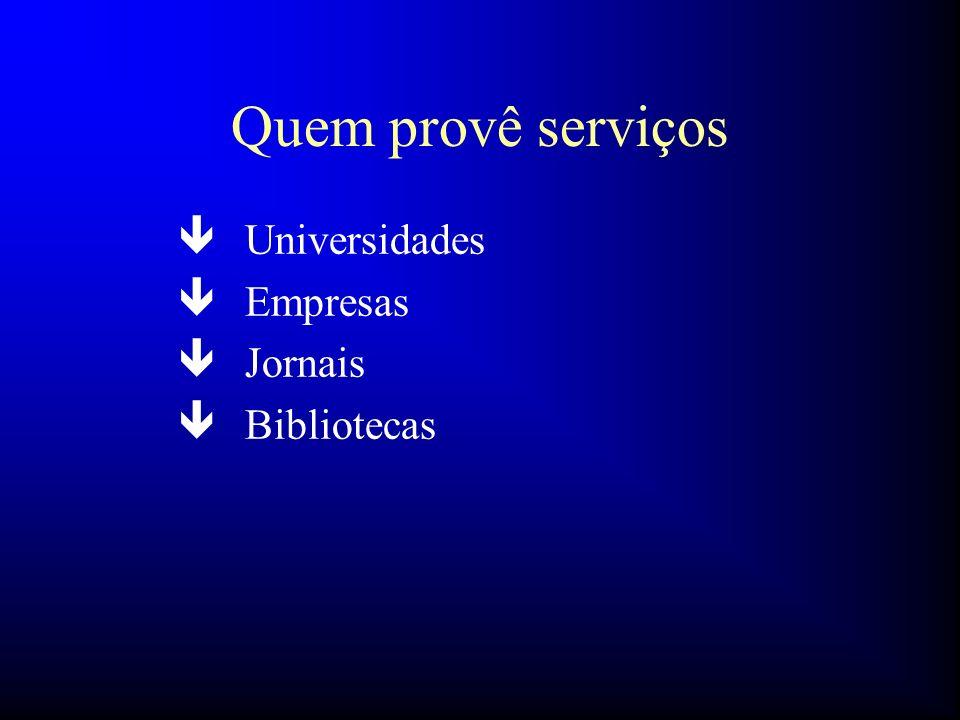 Quem provê serviços Universidades Empresas Jornais Bibliotecas 48 32