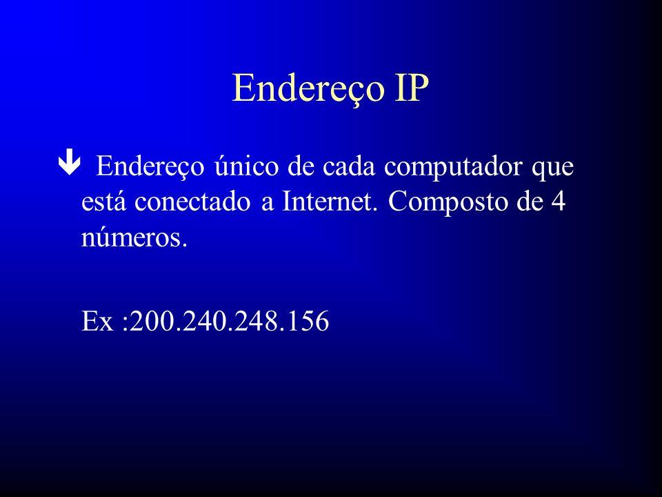 Endereço IP Endereço único de cada computador que está conectado a Internet. Composto de 4 números.