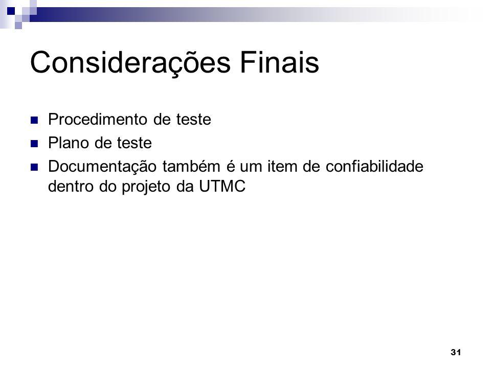 Considerações Finais Procedimento de teste Plano de teste