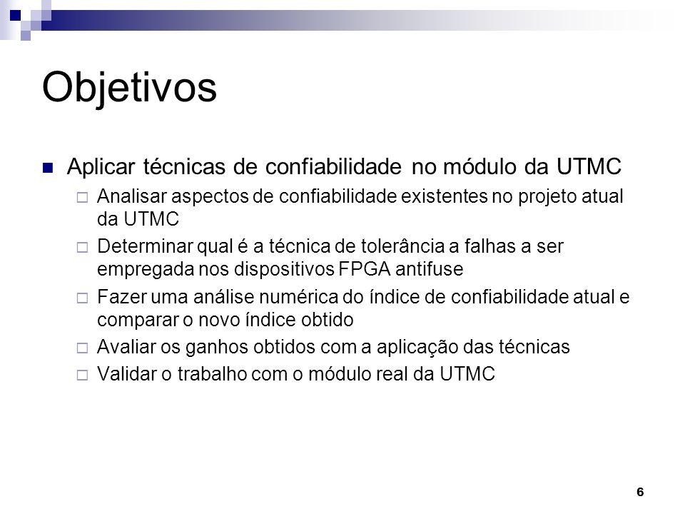 Objetivos Aplicar técnicas de confiabilidade no módulo da UTMC