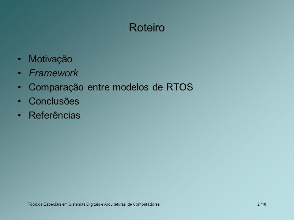 Roteiro Motivação Framework Comparação entre modelos de RTOS