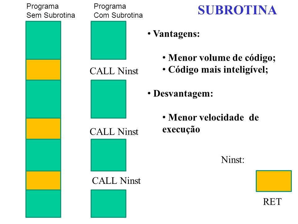 SUBROTINA Vantagens: Menor volume de código; Código mais inteligível;