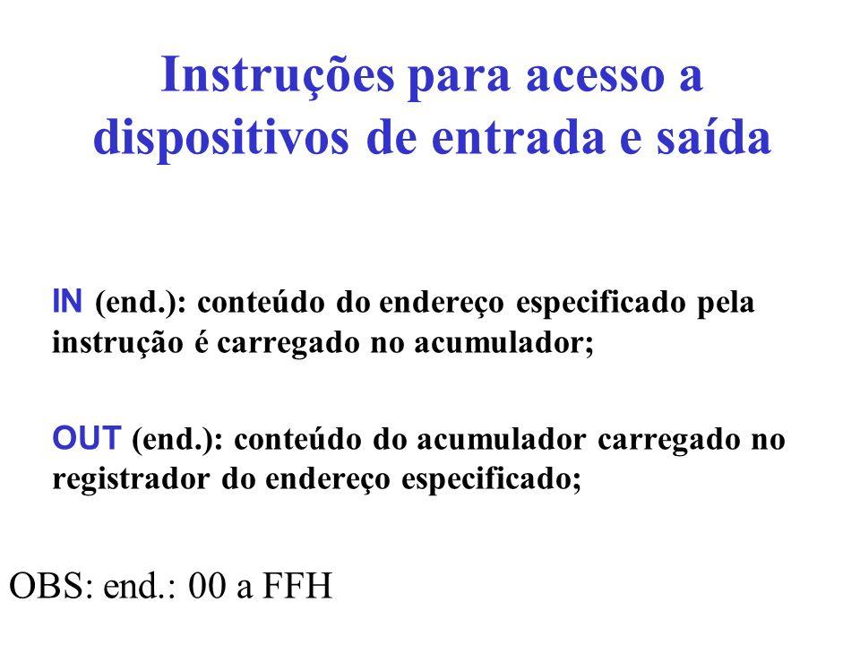 Instruções para acesso a dispositivos de entrada e saída