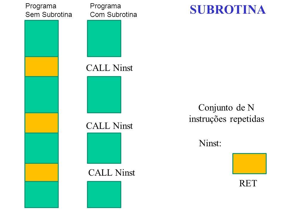 SUBROTINA CALL Ninst Conjunto de N instruções repetidas CALL Ninst