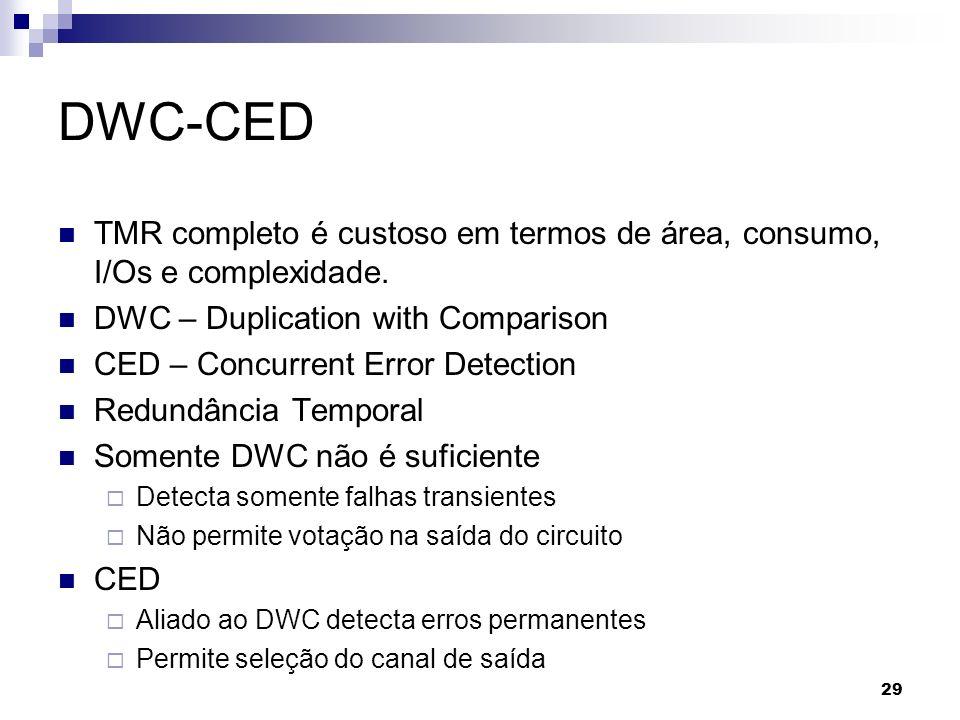 DWC-CED TMR completo é custoso em termos de área, consumo, I/Os e complexidade. DWC – Duplication with Comparison.