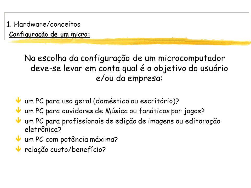 1. Hardware/conceitos Configuração de um micro: