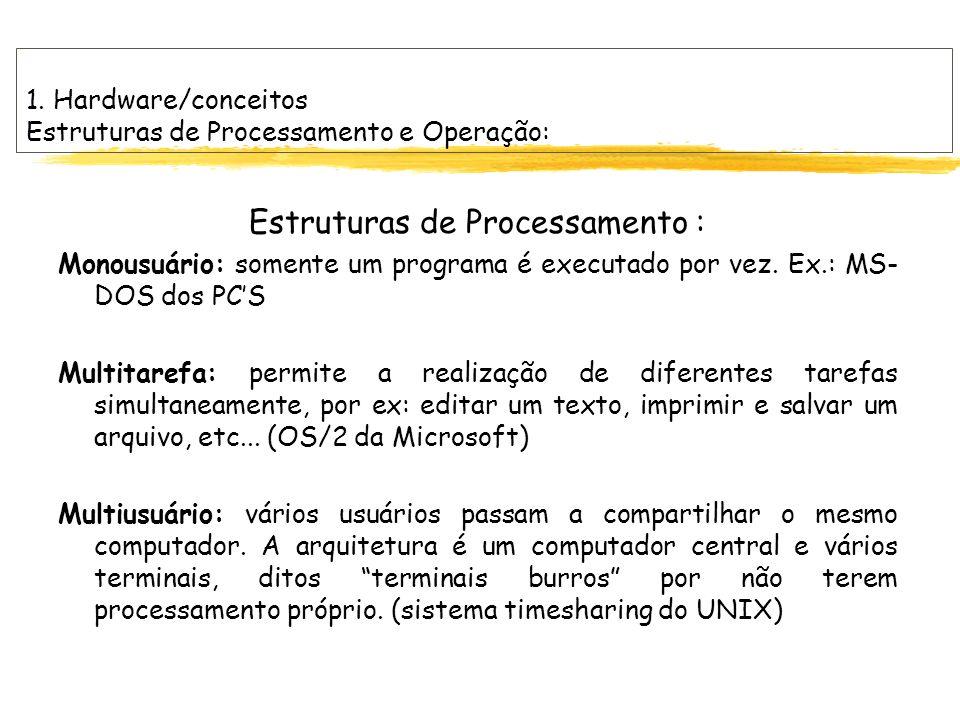 1. Hardware/conceitos Estruturas de Processamento e Operação: