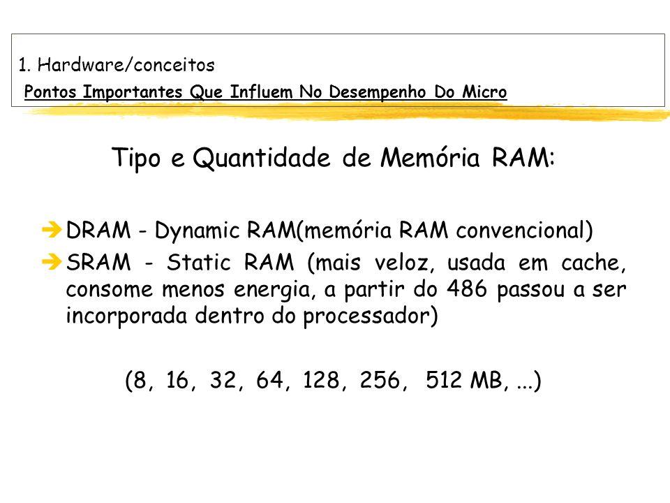Tipo e Quantidade de Memória RAM: