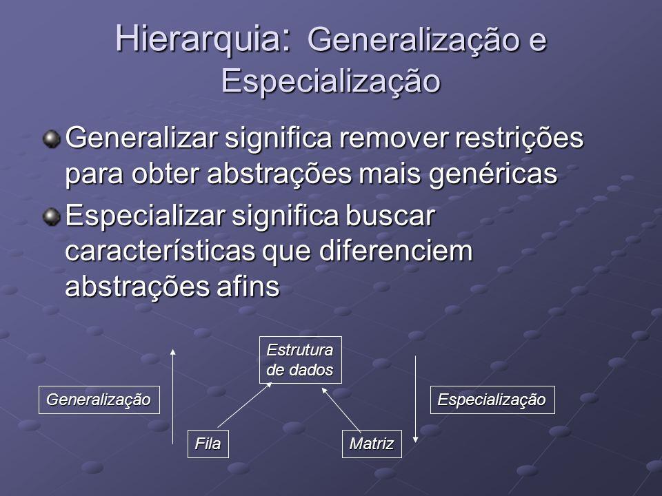 Hierarquia: Generalização e Especialização