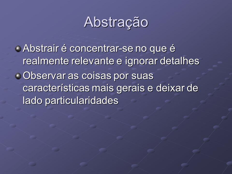Abstração Abstrair é concentrar-se no que é realmente relevante e ignorar detalhes.