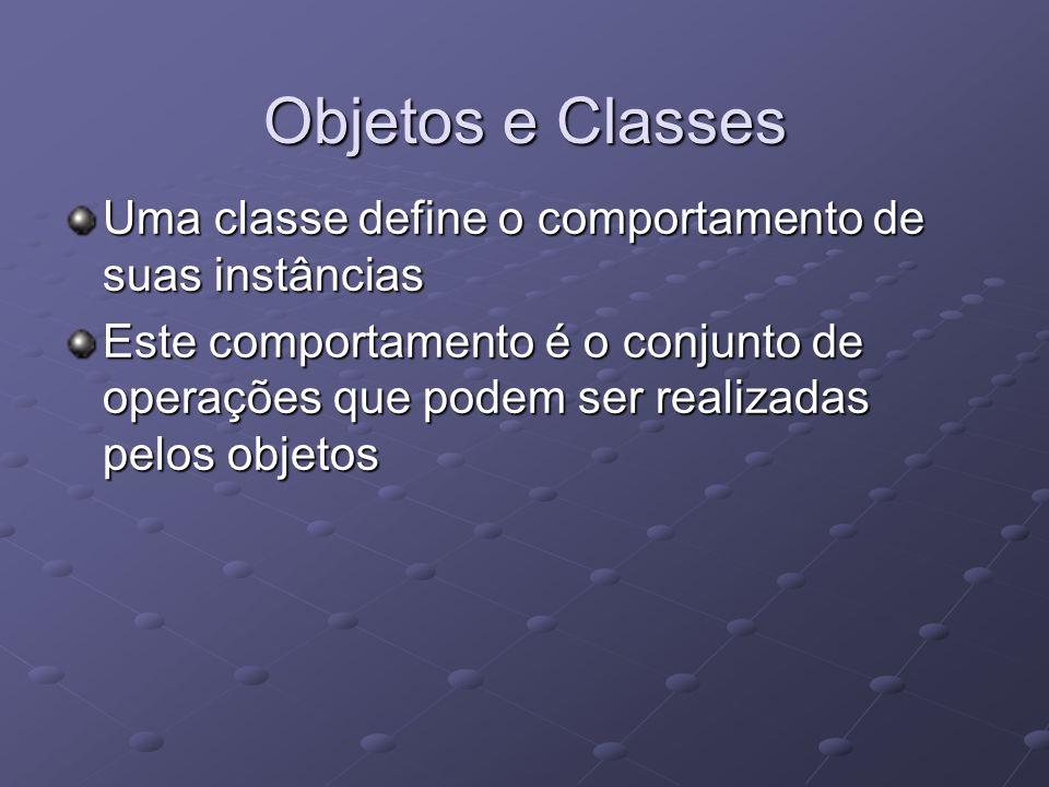 Objetos e Classes Uma classe define o comportamento de suas instâncias
