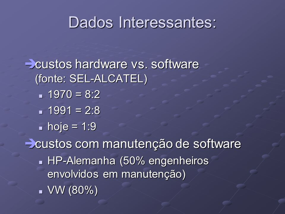 Dados Interessantes: custos hardware vs. software (fonte: SEL-ALCATEL)