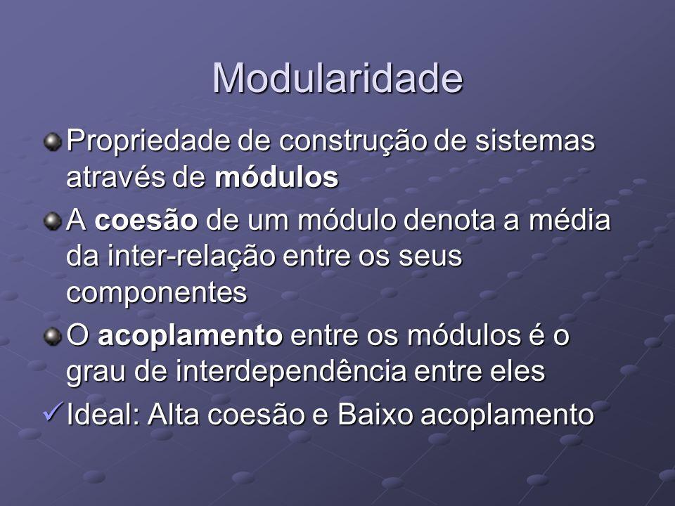 Modularidade Propriedade de construção de sistemas através de módulos