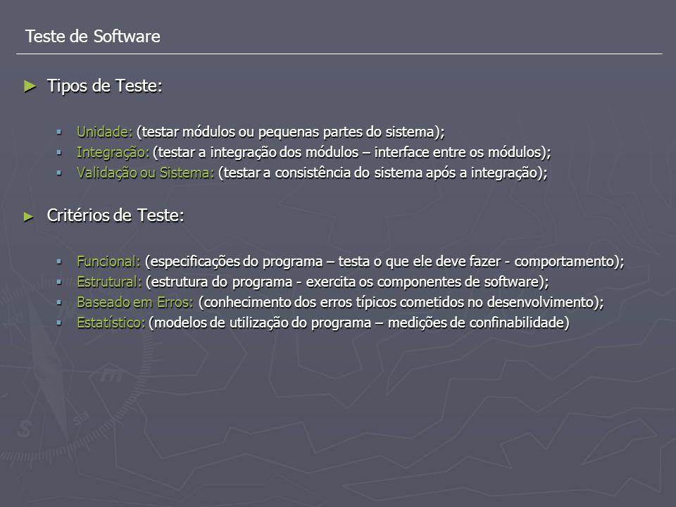 Teste de Software Tipos de Teste: Critérios de Teste: