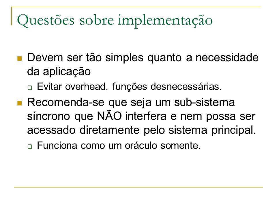 Questões sobre implementação