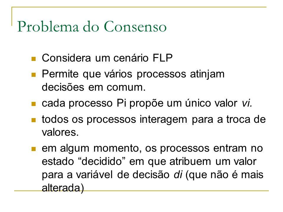 Problema do Consenso Considera um cenário FLP