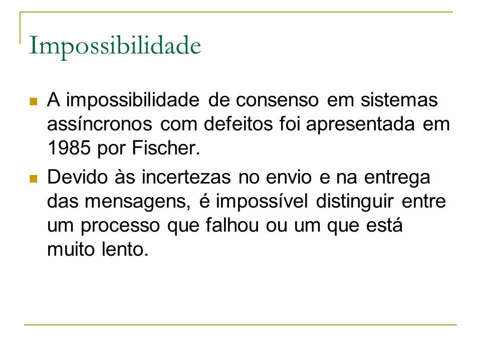 Impossibilidade A impossibilidade de consenso em sistemas assíncronos com defeitos foi apresentada em 1985 por Fischer.