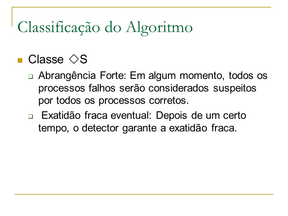 Classificação do Algoritmo