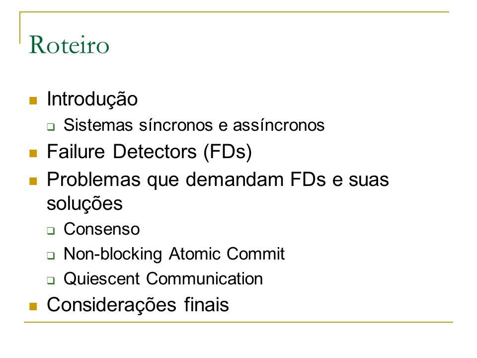 Roteiro Introdução Failure Detectors (FDs)
