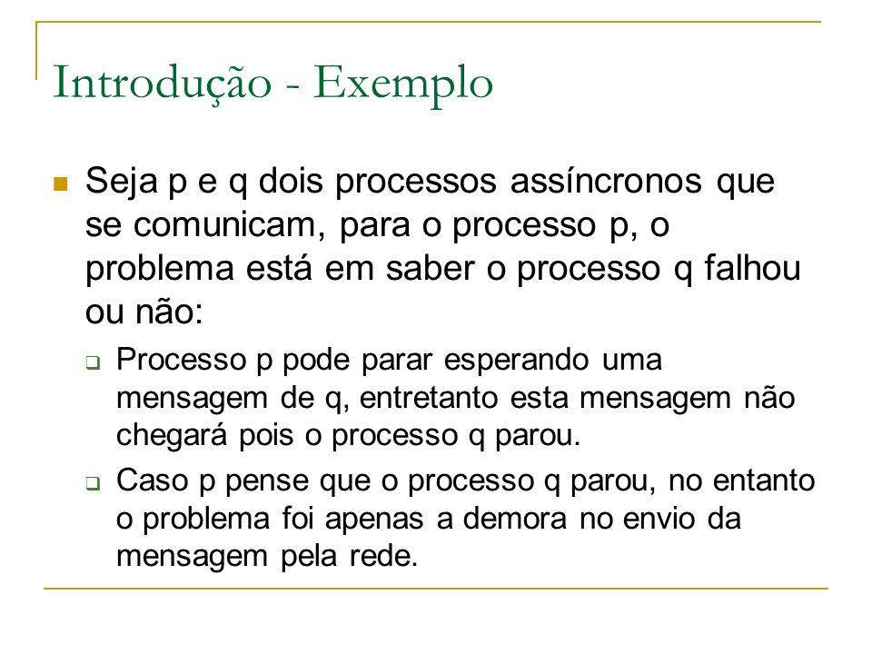Introdução - Exemplo Seja p e q dois processos assíncronos que se comunicam, para o processo p, o problema está em saber o processo q falhou ou não: