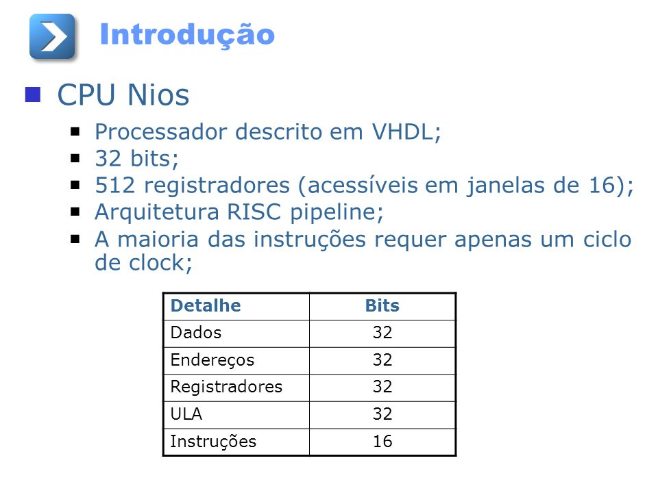 Introdução CPU Nios Processador descrito em VHDL; 32 bits;
